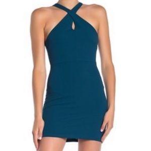 NWT Velvet Torch Cross Front Halter Mini Dress L